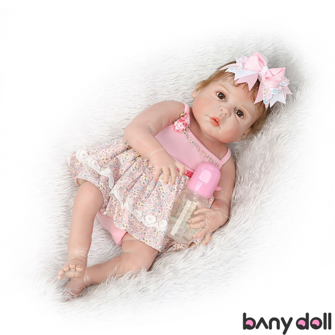 "22/""Reborn Baby Doll Soft Silicone Lifelike purple Dress full silicone vinyl Doll"