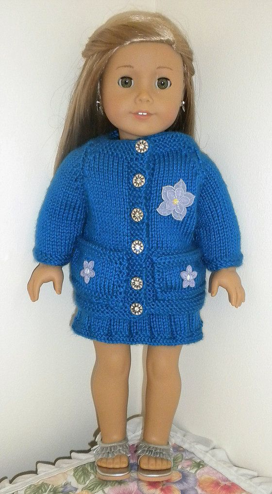Dollie-Clothes free knitting doll patterns | Blue cardigan and skirt ...