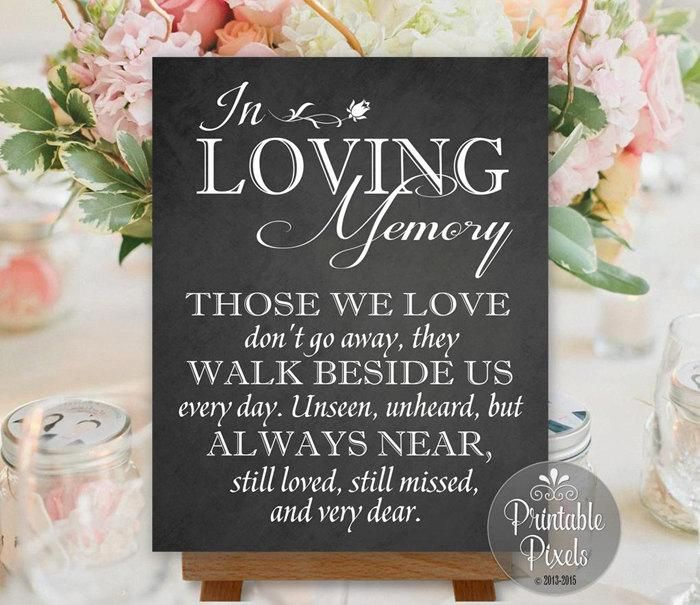 in loving memory in honor remembrance chalkboard printable wedding sign memory table instant download