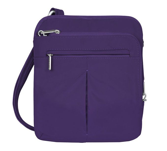 """Travelon Anti-Theft Classic Lite Slim Bag, Purple .Price: $54.97   .     300T Polyester     Imported     24"""" shoulder drop     9"""" high     10.5"""" wide     2 roomy compartments     Main compartment is large enough to hold an iPad or tablet and has a zip wall pocket      Front compartment has interior organizer with RFID blocking card & passport slots, zip wall pocket & deep drop pocket     Front zip pocket & full slash rear pocket, tethered key clip with led light     9 x 10.5 x 2     Made…"""