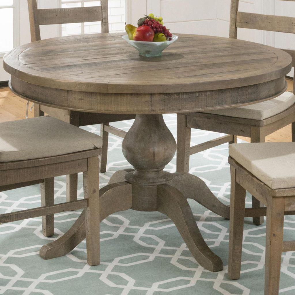 Jofran Slater Mill Pine Reclaimed Pine Round to Oval Dining Table ...