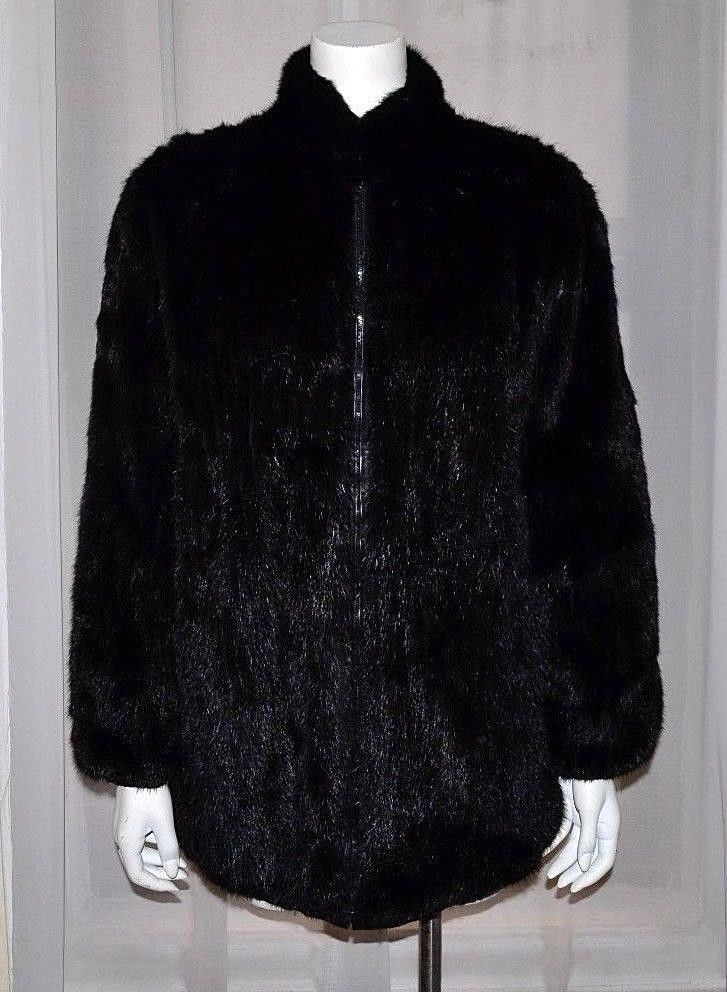 aa1f4f517 Black Real Mink Fur Coat Ribbed Patterned Reversible Leather Jacket ...