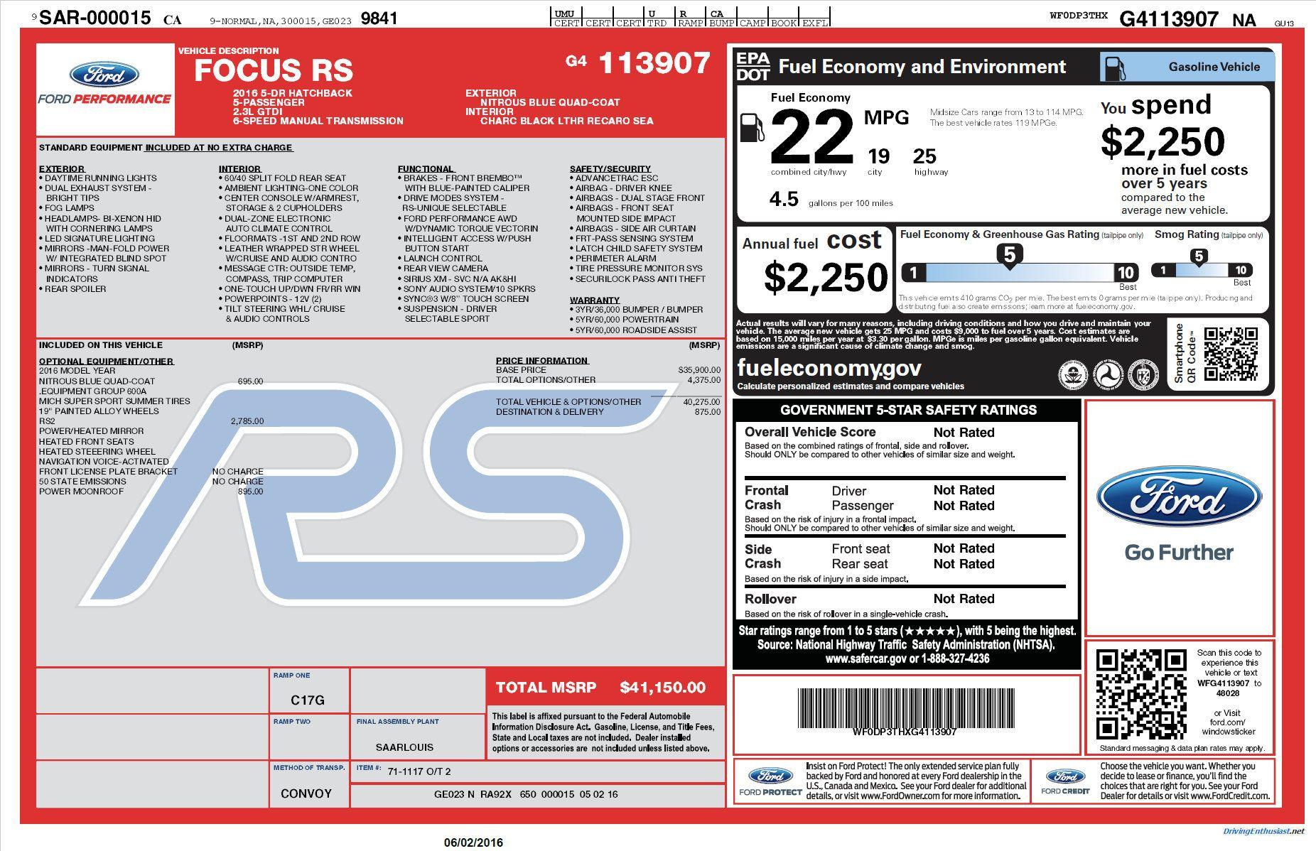 2016 Ford Focus Rs Window Sticker Nitrous Blue Quad Coat With Rs2 Ford Focus Rs Focus Rs Fuel Cost