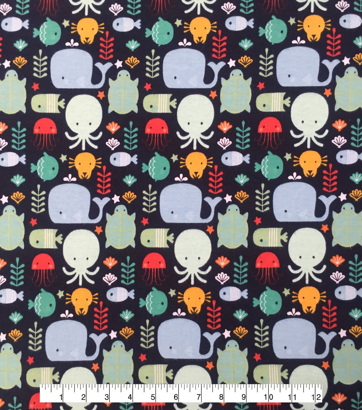Doodles Juvenile Apparel Fabric 57\'\' - Bubble Sea Life