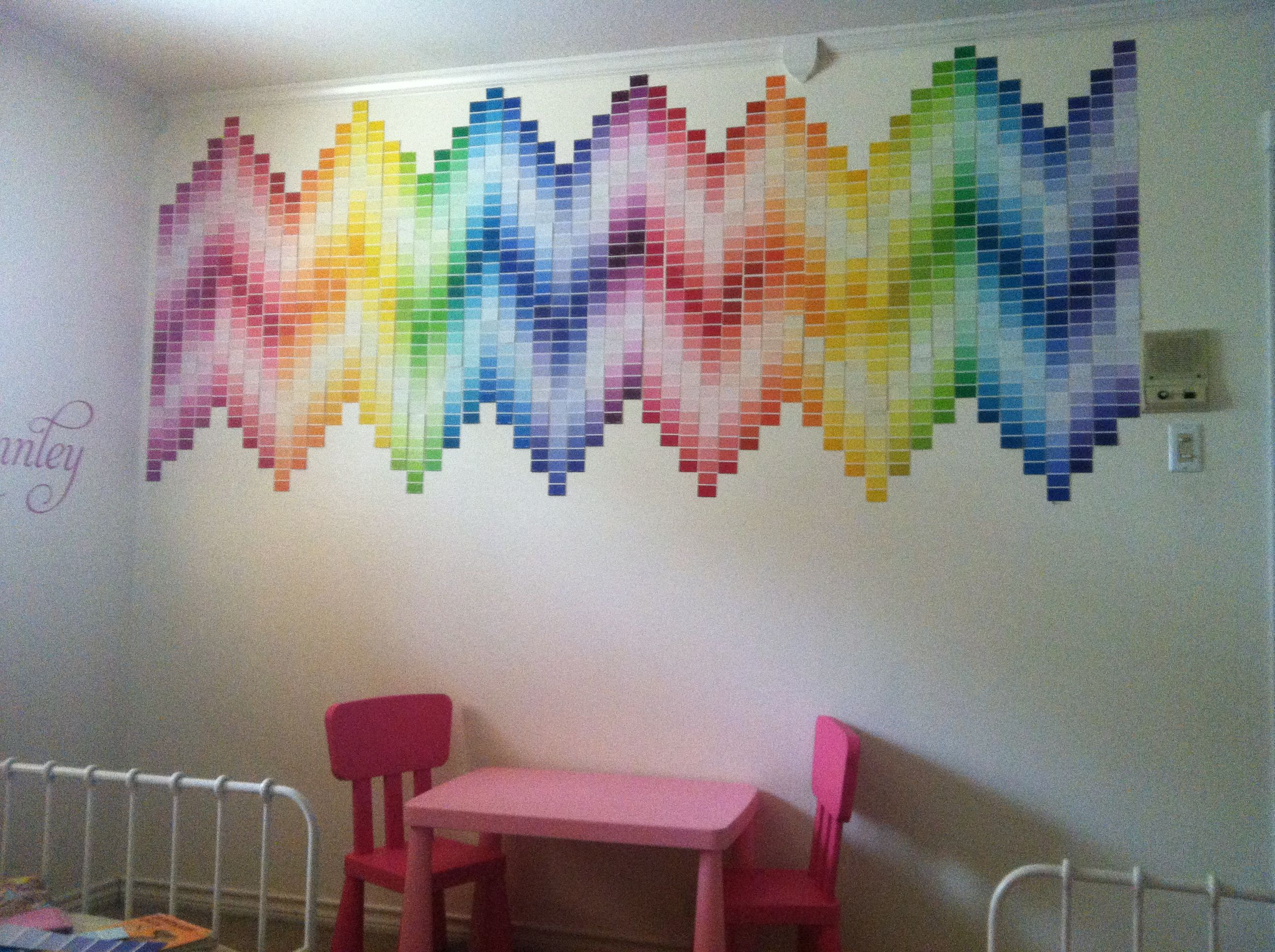 Diy paint swatch chevron wall looks like im gonna have to start getting some paint swatches lol