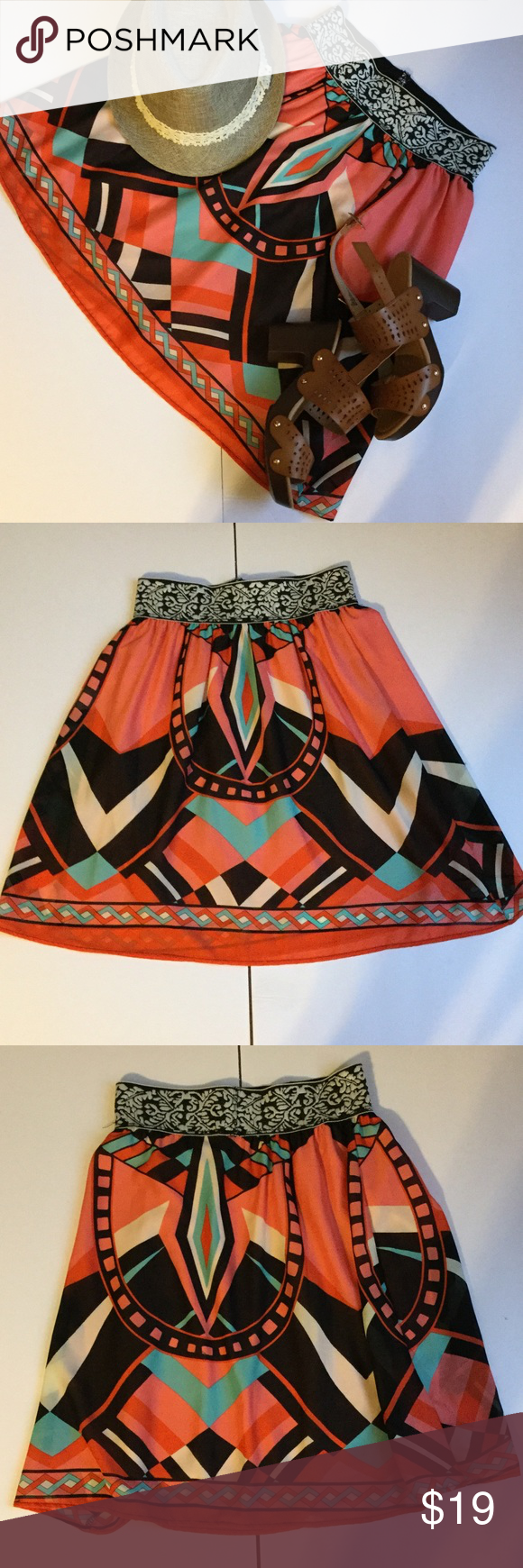 NEW LISTING Francesca's skirt ❤️❤️❤️❤️ NEW LISTING Francesca's skirt with beautiful pattern and coordinating band at waist. The skirt is approx 21 in from top of skirt to bottom hem. The skirt is fully lined and hand wash. The skirt was bought at Francesca's tag says Peach Love. Francesca's Collections Skirts
