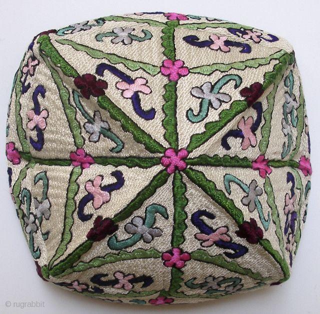 "Hat. Tashkent hat. 2nd quarter 20th century. 21.5""circumference x 6""d x 4""h. Silk embroidery on cotton; cotton lining; black velvet trim. Ex..."