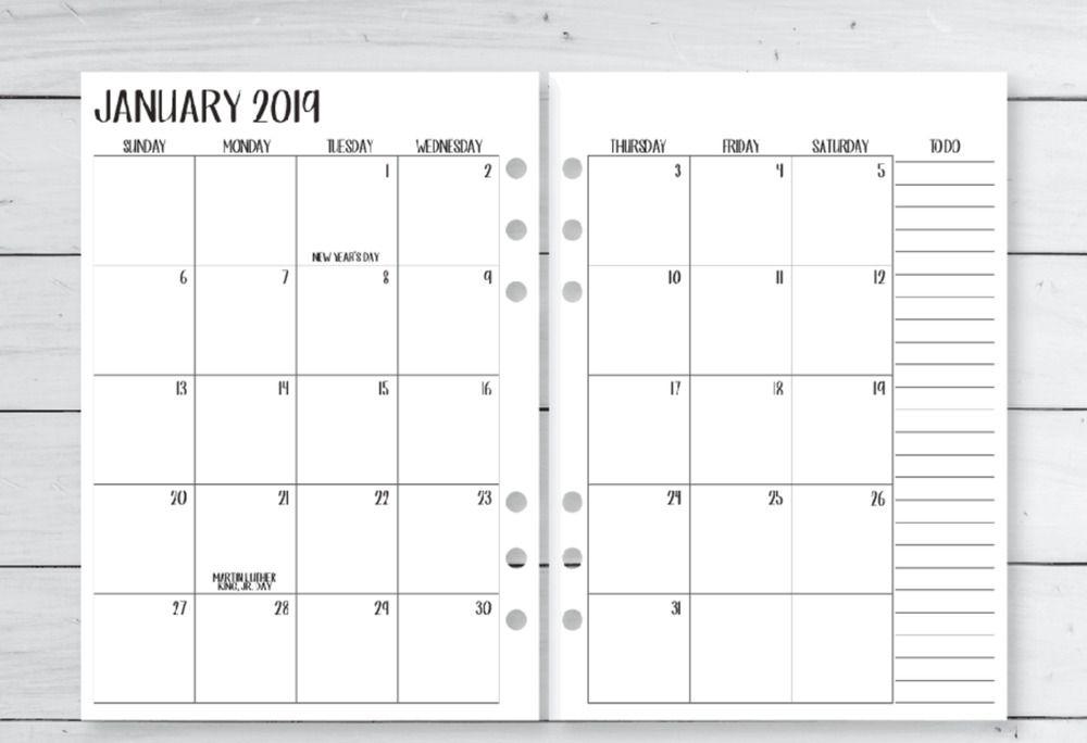 Calendario Fitness 2019.2019 Refill Calendar Fits Louis Vuitton Large Agenda Cover