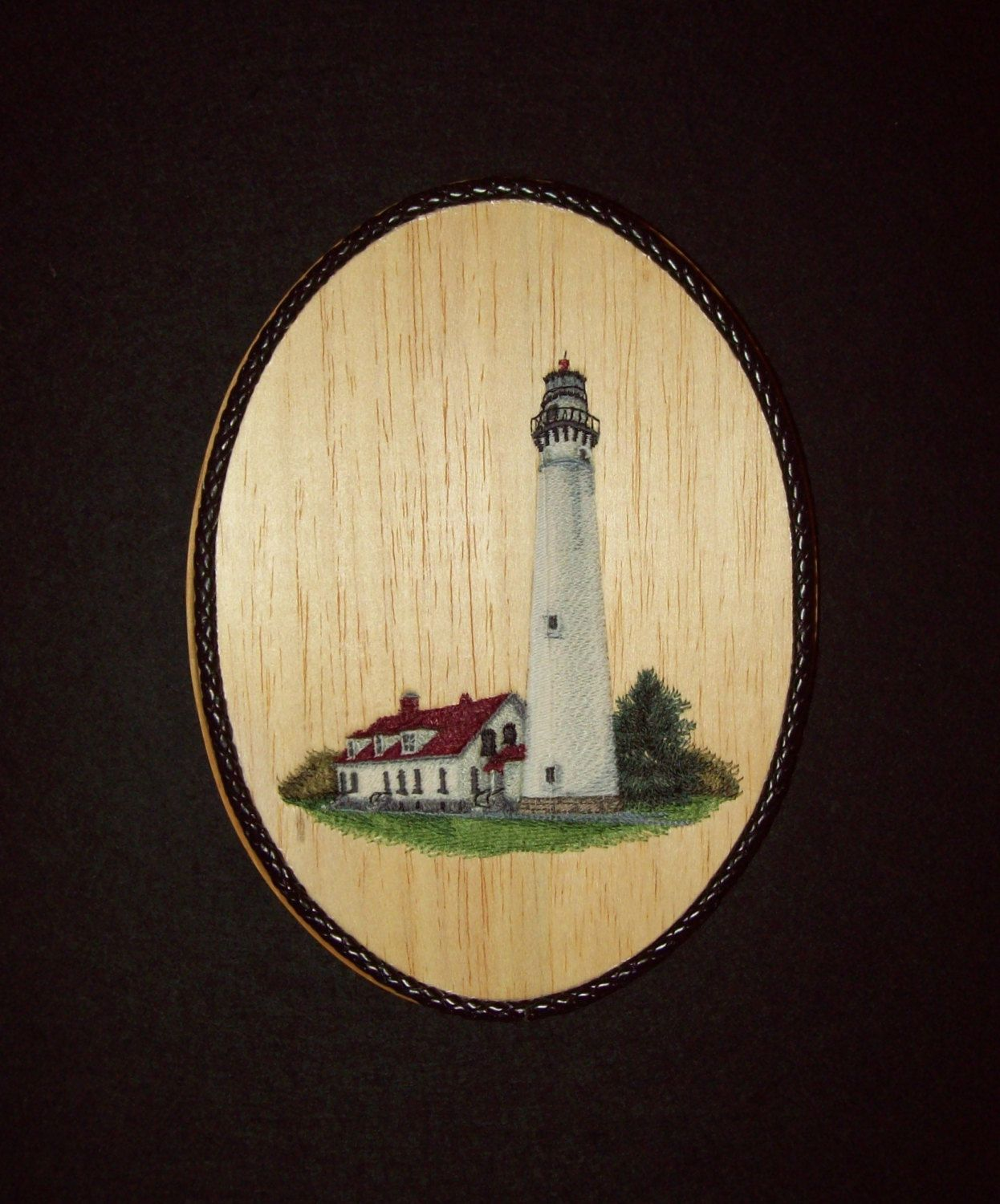 Wind Point Lighthouse Nautical Decor/Embroidery on Balsa Wood by ...