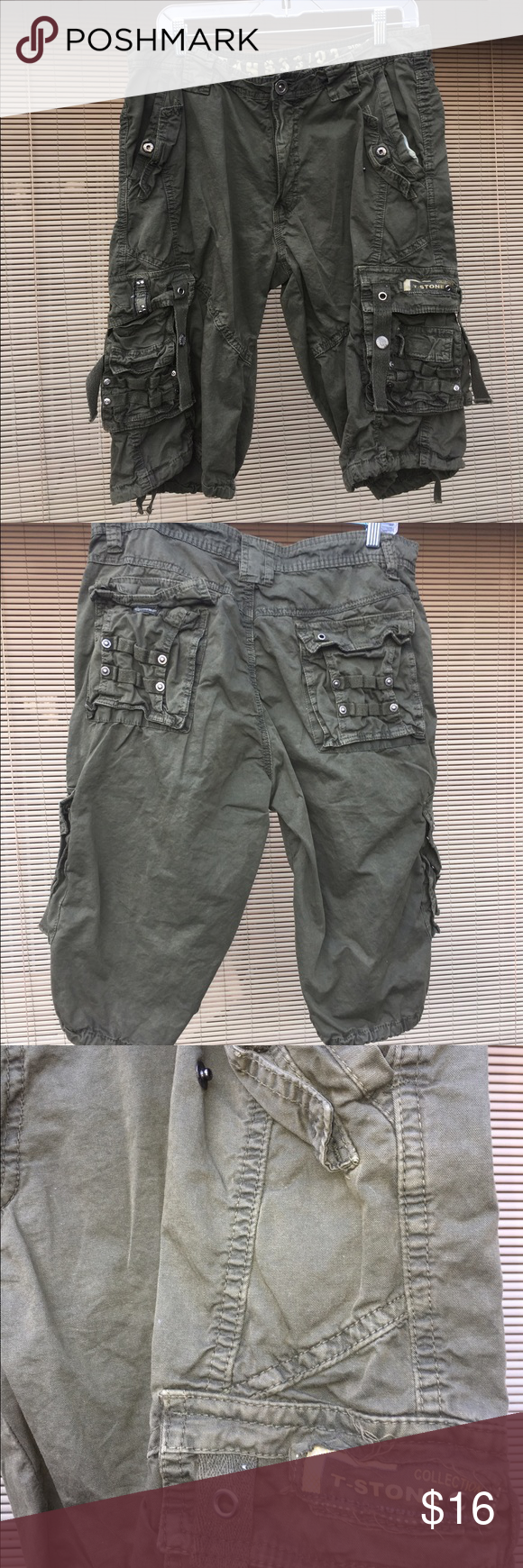 Men's Stone Touch Cargos..100% cotton Medium weight, great color, nice looking pair of Cargos!!  Size 34 Stone Touch Shorts Cargo