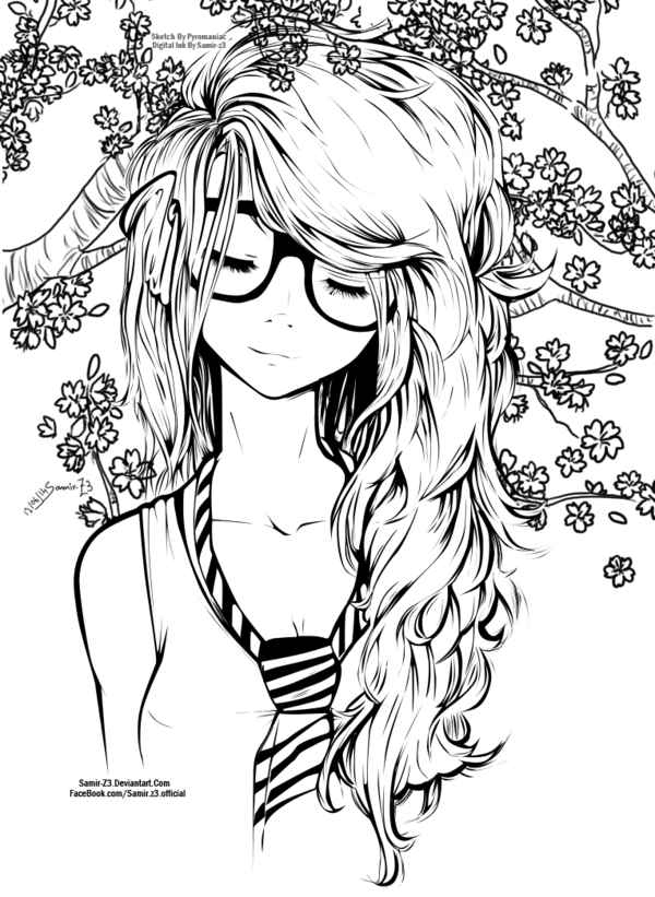 Long Hair Girl By Zerrouki Samir Via Behance Art Cute Girl Drawing Cute Drawings