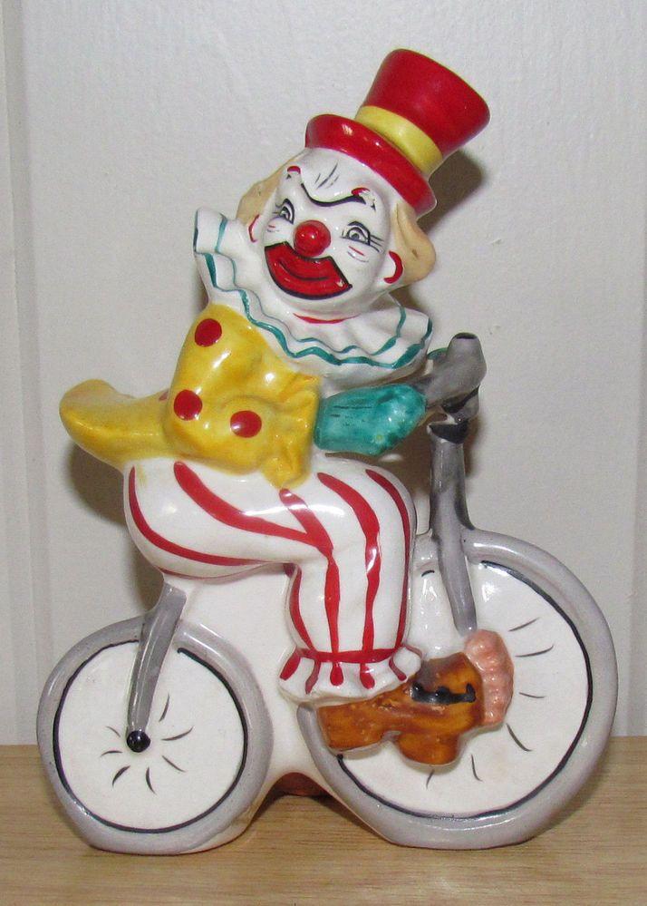 Vintage Circus Clown on Bicycle Ceramic Figurine Yona ...