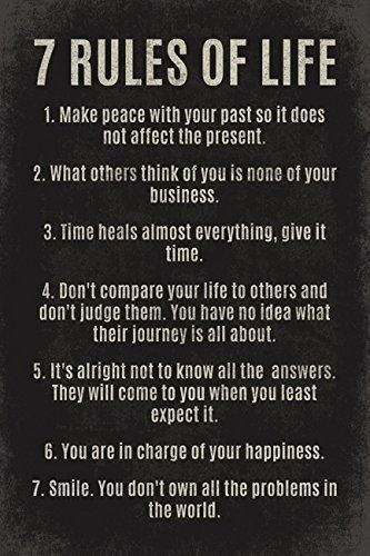 7 Rules Of Life Quote Endearing 7 Rules Of Life Motivational Poster Print  Wall Art  Pinterest
