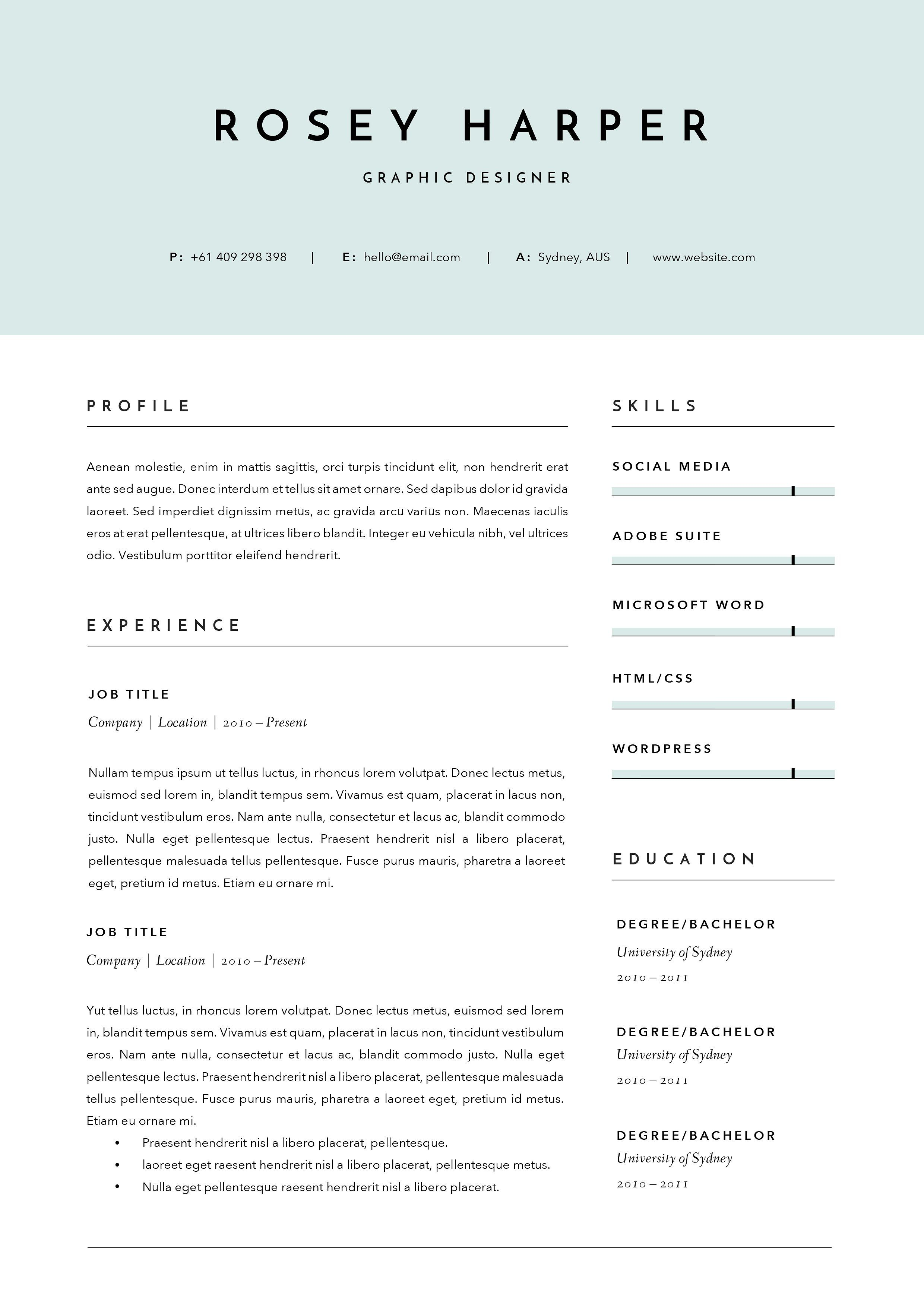 3 Page Resume Template INDD DOCX #set#Delete#includes#quick ...