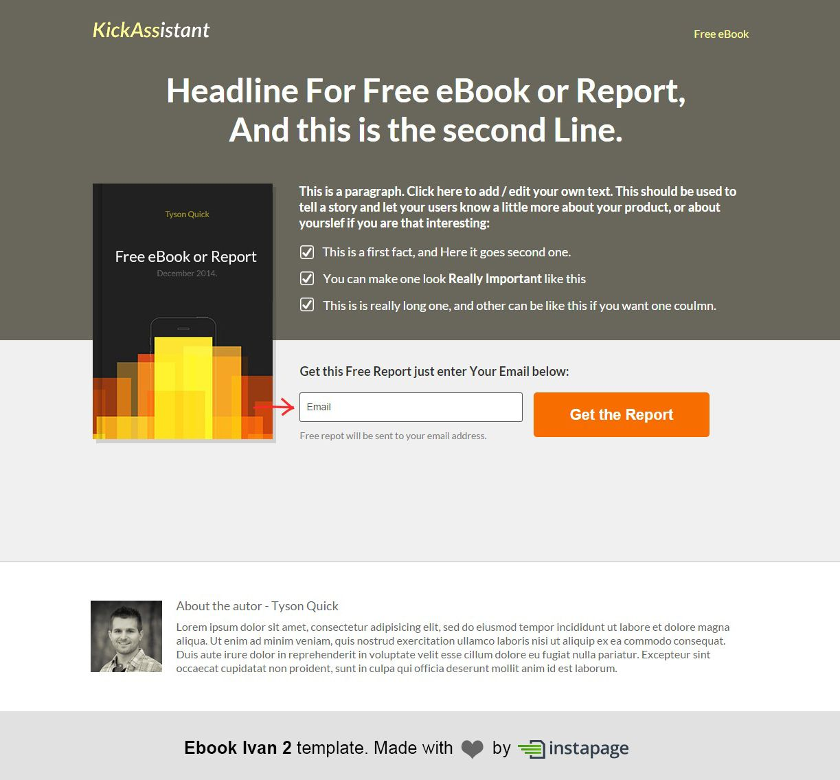 eBook Ivan 2 Template by Instapage   eBook Landing Pages   Pinterest