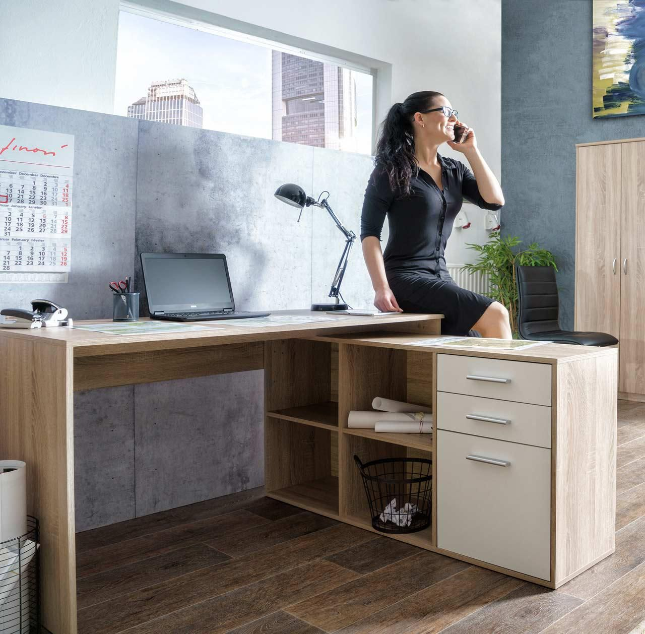 Schreibtisch in sonoma eiche front in weiß kaufen bei