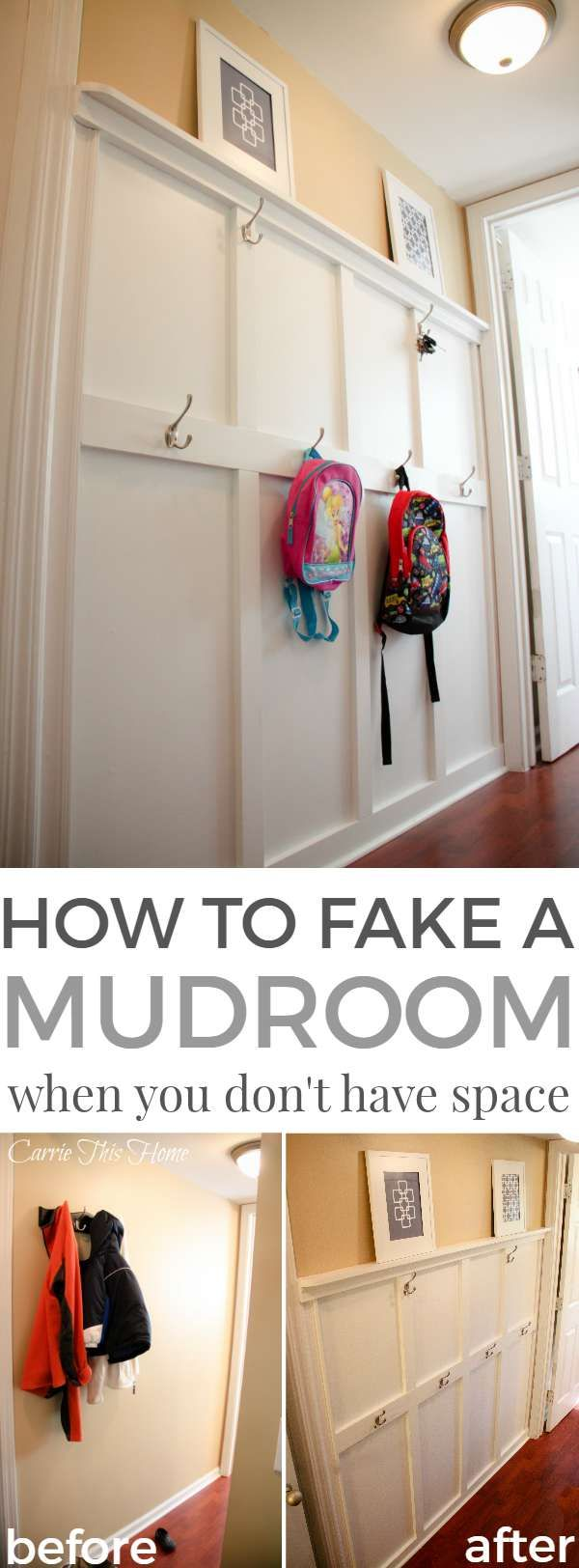 This is a must read if you're in need of storage solutions & don't have much space. Learn how to take a small space & turn it into a mudroom! How to fake a mudroom when you don't have the space #storagesolutions #mudroom