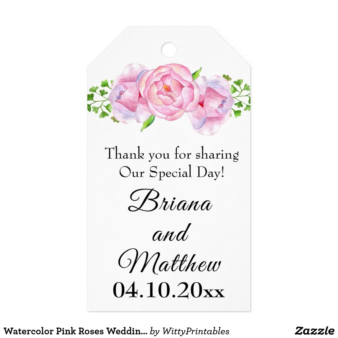Watercolor Pink Roses Wedding Favors Gift Tag | Elegant Floral ...