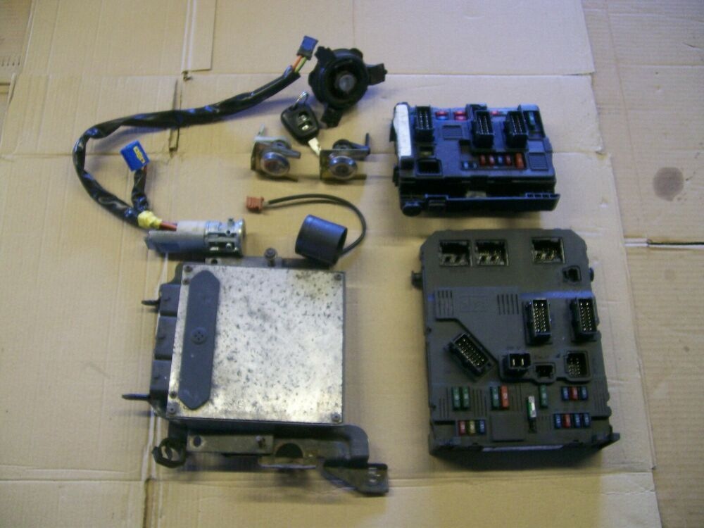 Peugeot 206 Ecu Bsi Bsm Fuse Door Lock Ignition Barrel Set Off 2002 Year 1 1
