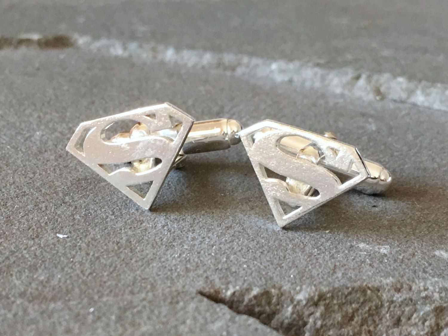Sterling Silver Superman Cufflinks, Gifts for Techies, Superhero Gifts, Geeky Gifts, Groom Cufflinks, Superhero Cufflinks, Groomsmen Gifts #superherogifts