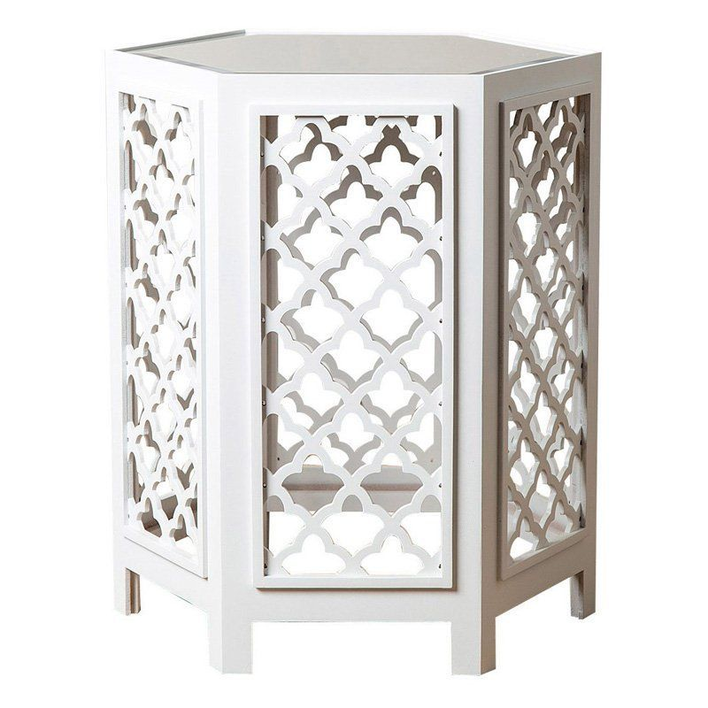 Abbyson Living Mirrored End Table - MD-M30301-WHT