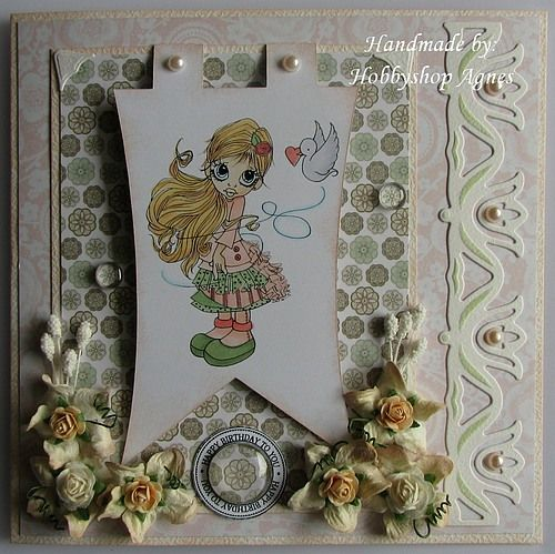 Happy Birthday to you card.  I have used glass camee en a lot of paperflowers.