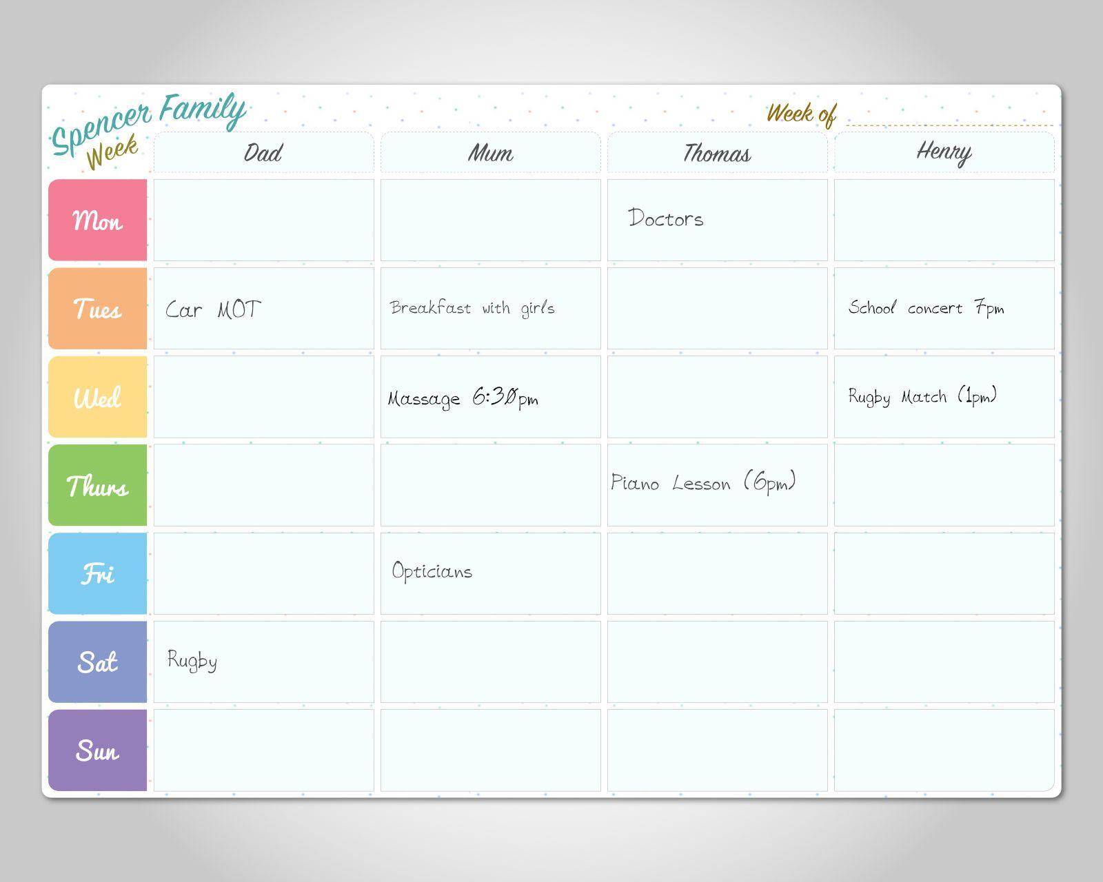 2018 Family Organiser Calendar Flowers 5 Columns for Organising your family