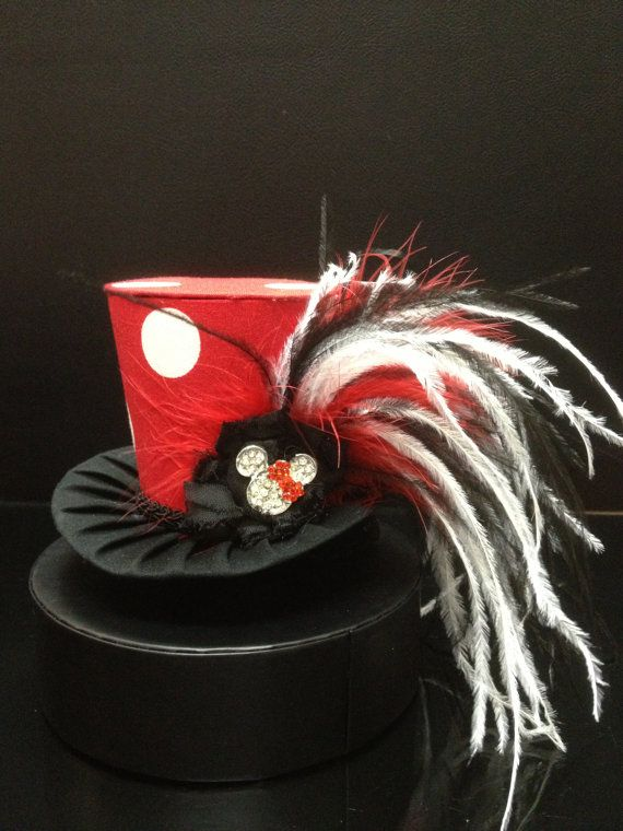 Red Minnie Mouse Mad Hatter Mini Top Hat Great by daisyleedesign, $29.95