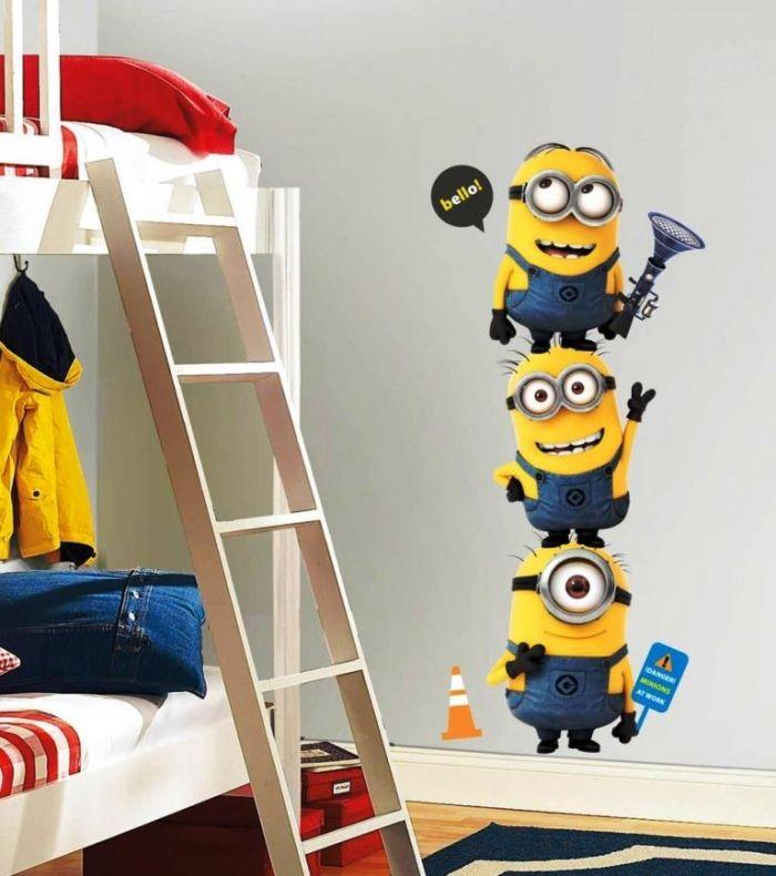 cute and cool minions wall sticker design | kids room ideas