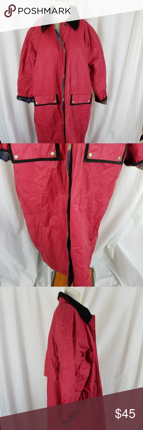 c62c9674cf408 Misty Harbor Flannel Lined PVC Slicker Rain Coat Vintage Misty Harbor long PVC  raincoat Women s size