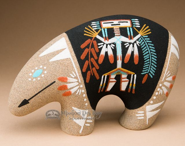 Native American Navajo Sand Painted Pottery Bear P640