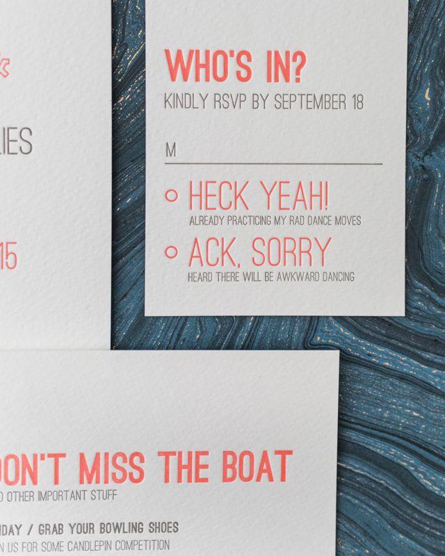 Modern Neon Typography Wedding Invitations