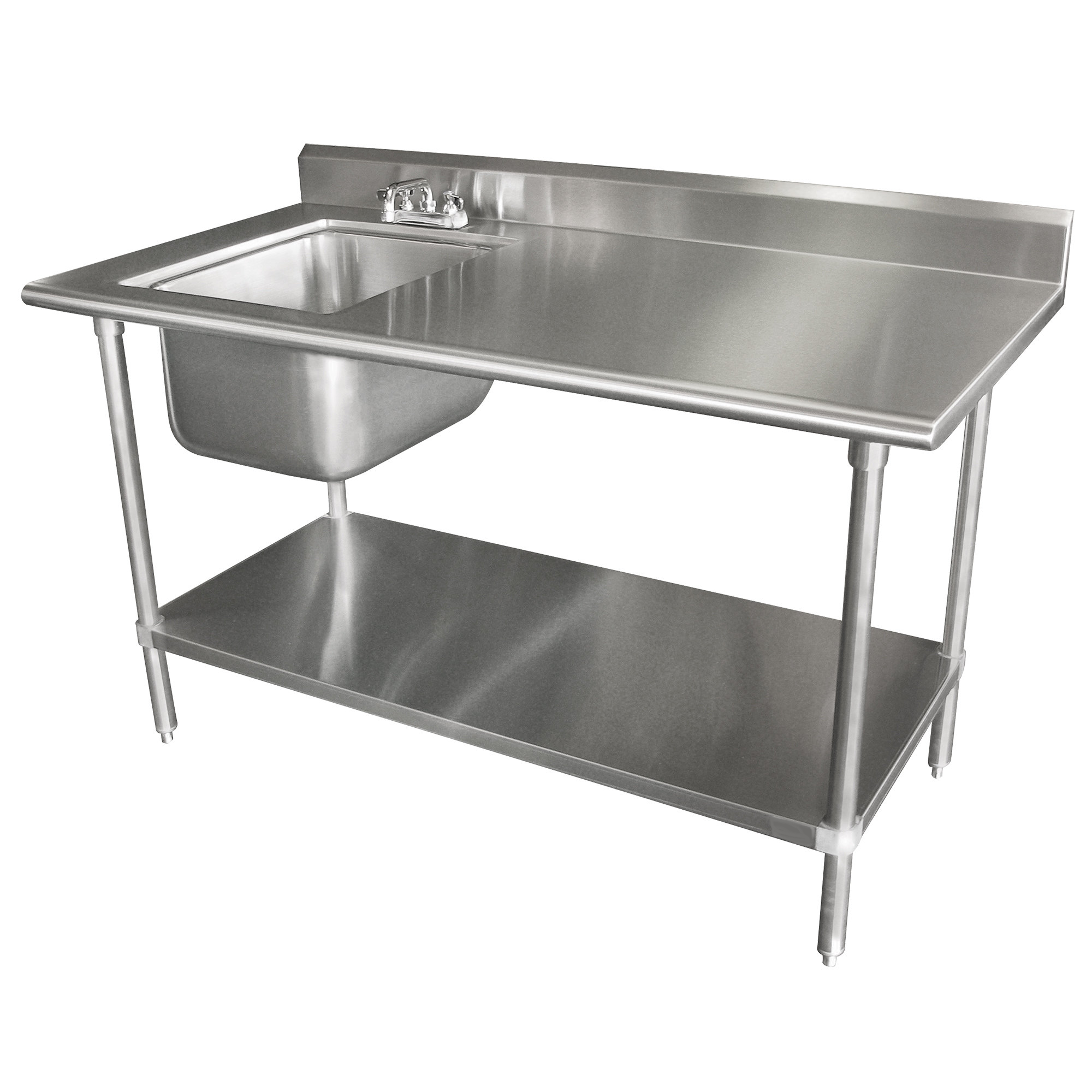Stainless Steel Work Prep Table With Sink 30 X 72 With 5 Backsplash Stainless Steel Work Table Stainless Steel Kitchen Stainless Steel Kitchen Table
