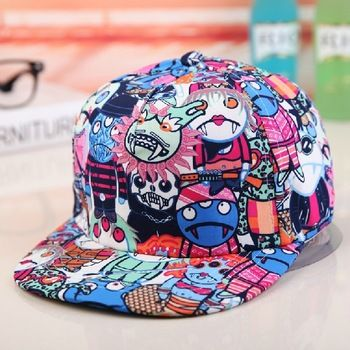 f695db9d527 HOT Wholesale Free shipping fashion Korean Hip Hop Graffiti cartoon monster  cap…