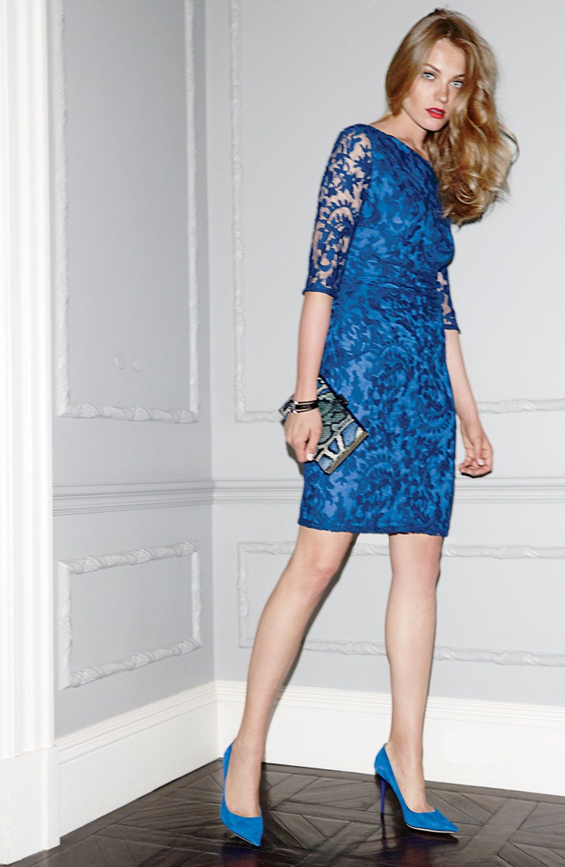 Smitten with this blue lace sheath dress cute clothes carolus