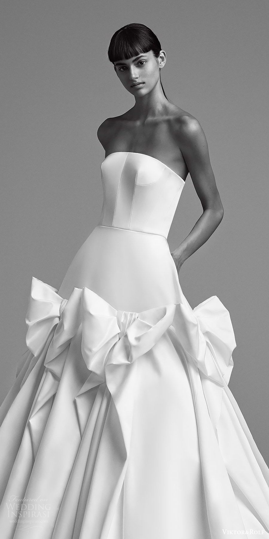 Viktor and rolf fall bridal strapless straight across ball gown
