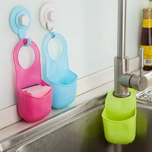 Kitchen Sink Sponge Holder Bathroom Hanging Strainer Organizer Storage Box Rack - Red