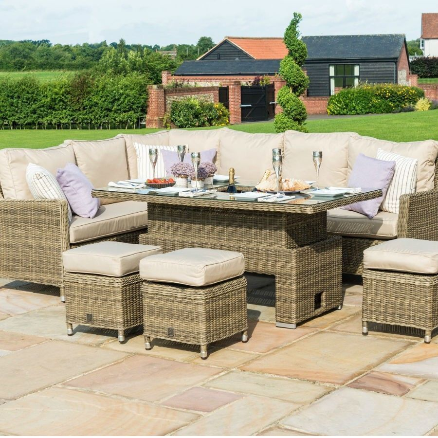 9 Seater Rattan Dining Set L Shape Sofa Brown Beige Garden Outdoor