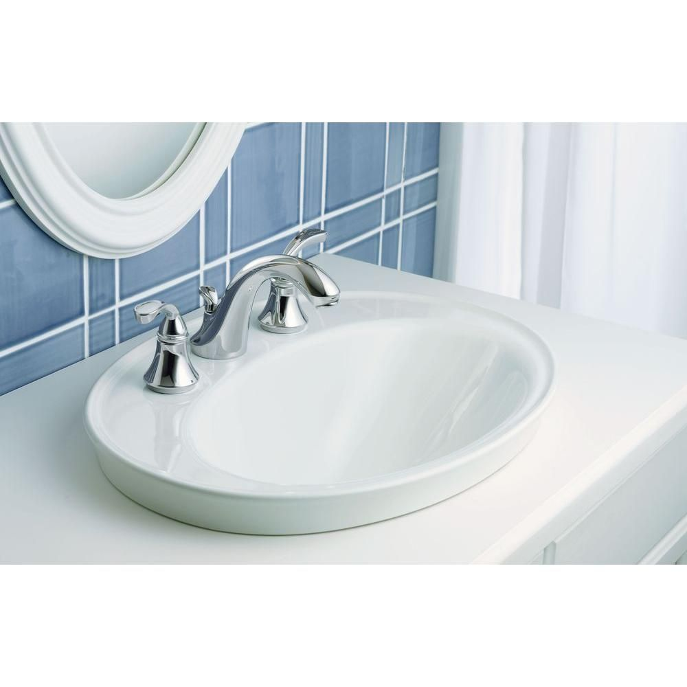 KOHLER Serif Ceramic DropIn Bathroom Sink In White With Overflow - Oval bathroom sinks drop in for bathroom decor ideas