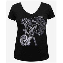 Womens Beautiful Sorrow by Josh Stebbins Tattoo Sparrow V-Neck T Shirt