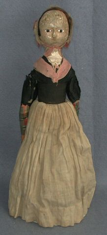 Wooden doll, woman, brown and white dress, England, 1725-1760