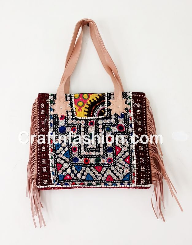 4471b7fa656 Indian Hippie Boho gypsy mirror work bag- Exclusive Leather Fringe ...