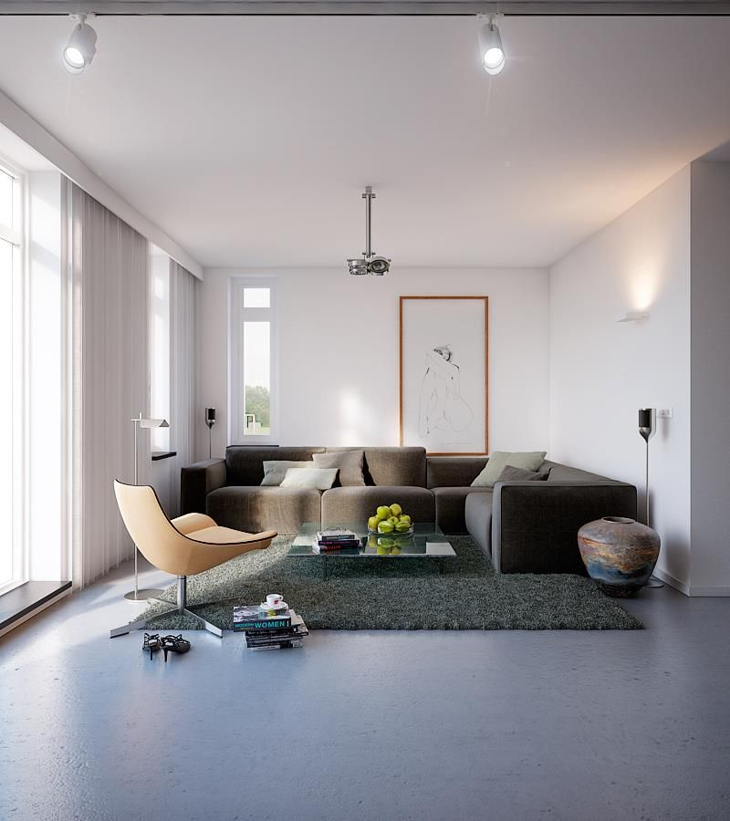 Ceiling Track For Lighting And Funky Pendant Lamp Plus Black Sofa