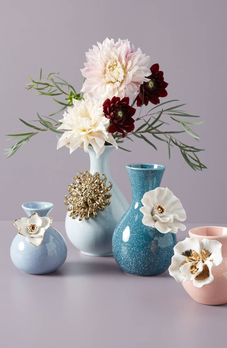 A Gilded Chrysanthemum Adds Texture And Gleam To A Pale Blue Vase That Looks Lovely Even When You Don T Have Fresh Flowers Aroun Decor Decor Guide Flower Vases