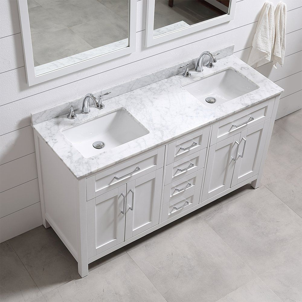 Ove Tahoe 60w Marble Top Bathroom Double Sink Vanity 60 Inch By