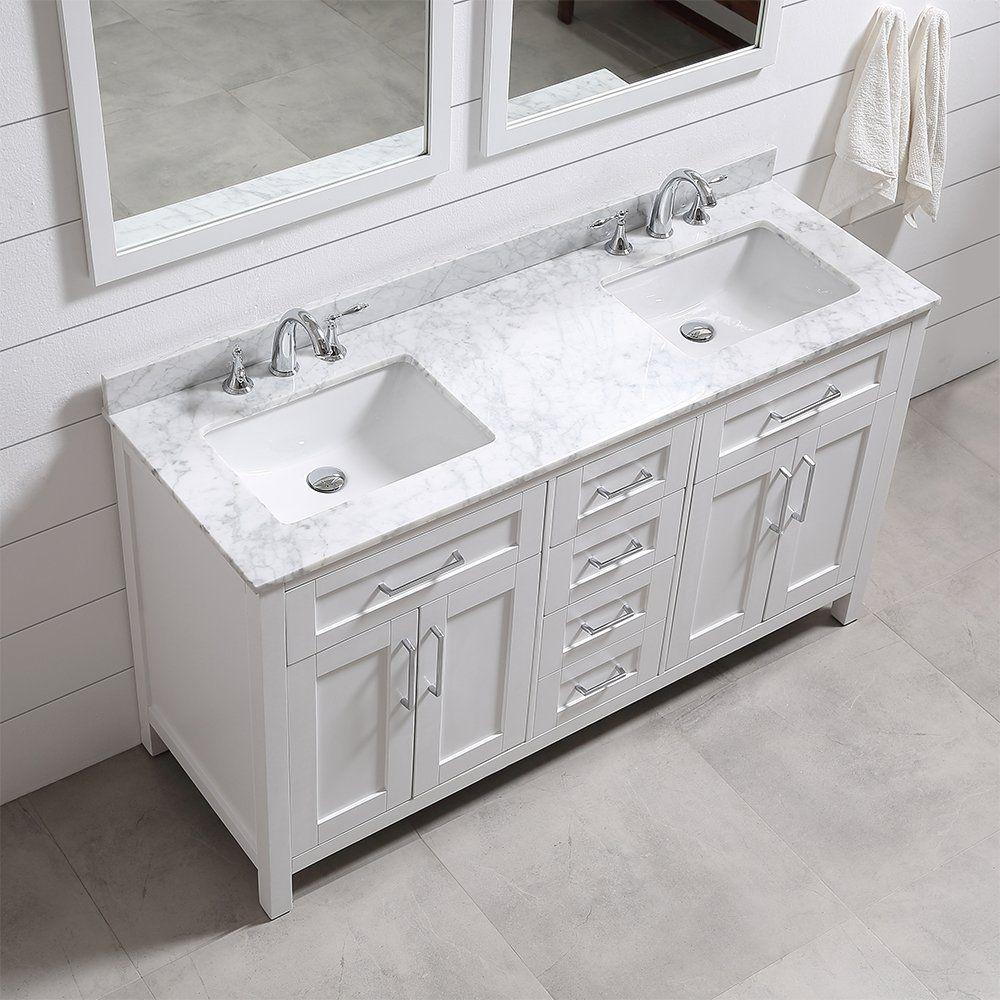 Ove Tahoe 60w Marble Top Bathroom Double Sink Vanity 60 Inch By