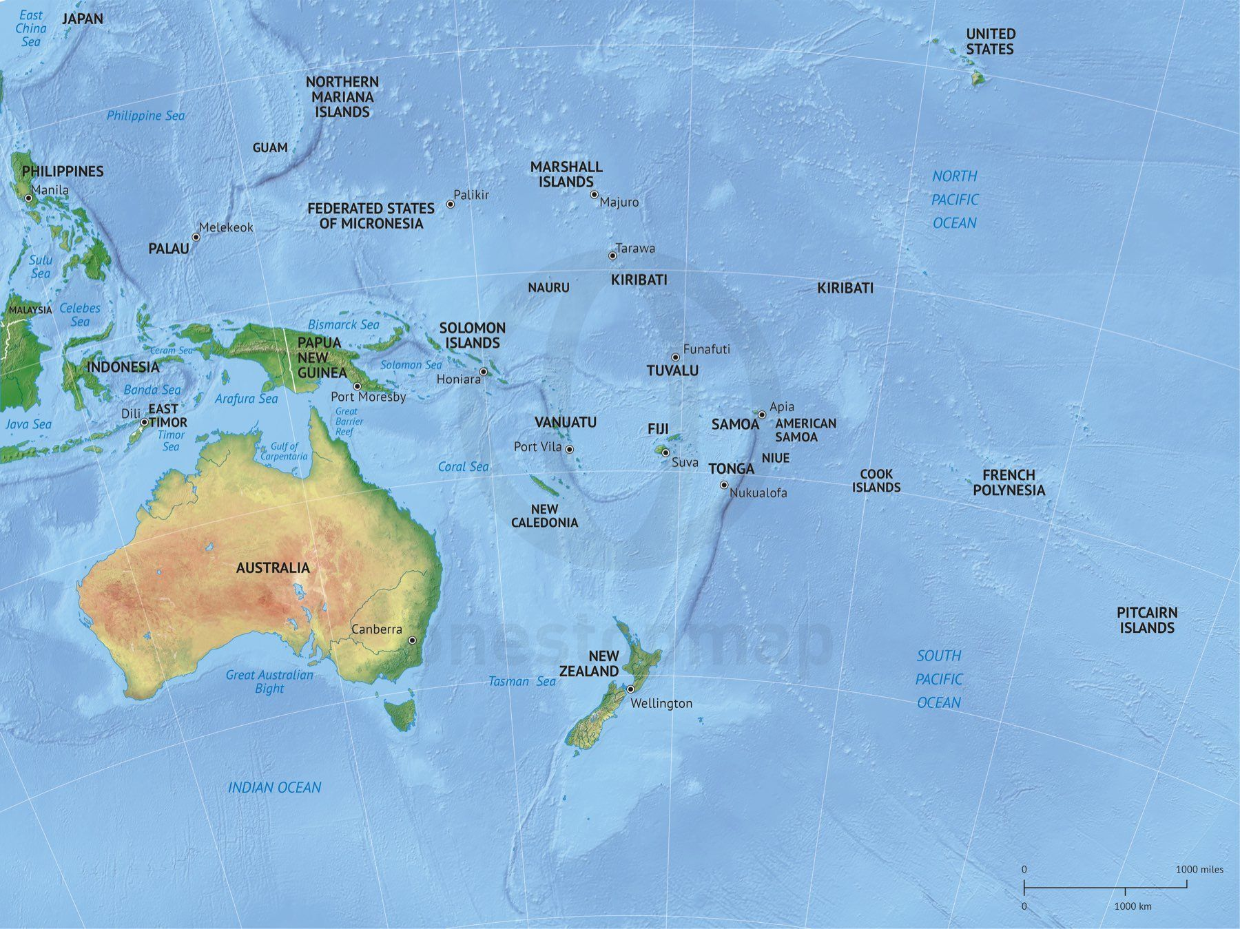 Map of Australia continent political with shaded