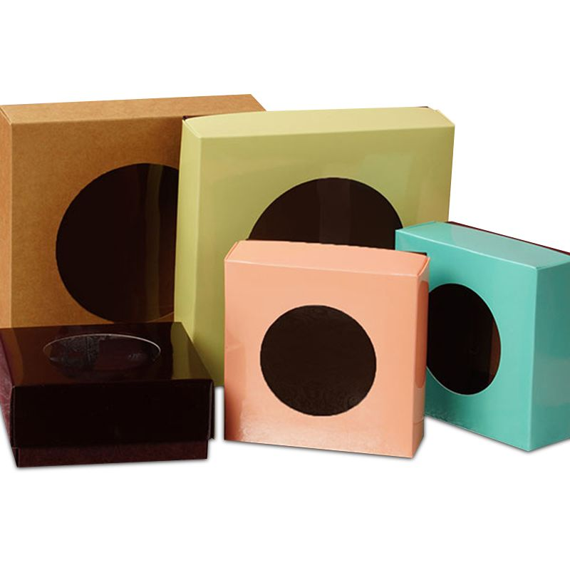 Bicolored cookie box with round window shop papermart