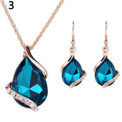 Photo of Women's Fashion Rhinestone Choker Chain Necklace Drop Earrings Jewelry Set – Lake Blue