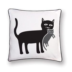 Mama Cat Pillow 18x18 Black now featured on Fab. Naked DécorPosh Prints On Pillows  Supon Phornirunlit started Naked Décor—a one-of-a-kind housewares collection—in 2007. We had a smash sale just a few months back, and now Naked Décor has brought us another round of pillows, including the U.S. debut of a number of new designs that are bound to incite the best kind of daydreams.
